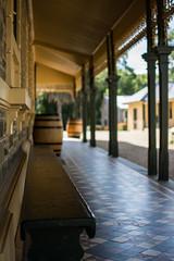 Victorian Charm (Alicia Caruso) Tags: building window architecture bench prime nikon barrels winery tiles porch verandah southaustralia windowsill gravel barossavalley colonnade bluestone winebarrels seppeltsfield d7100 victoriantessellatedtiles