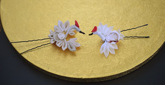 Tiny kanzashi cranes. Handmade silk tiny hair ornament. (Bright Wish Kanzashi) Tags: new flower art pine hair asian japanese pin handmade oneofakind ooak plum style bamboo ornament fabric years ornate fiber technique tsumami kanzashi zaiku