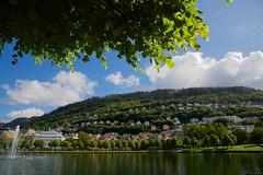 Sunny Day in Bergen! (*junko*) Tags: trip travel blue cloud house lake tree cute green norway canon pond mark hill bluesky 5d bergen scandinavia cutehouse canon5dmark3