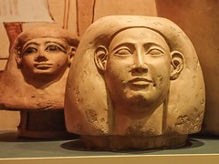 Canopic jar lids from two different tombs representing Imsety protector of the liver Egypt 1550-1398 BCE (left) 380-342 BCE (right) (mharrsch) Tags: washingtondc smithsonian ancient egypt human 4thcenturybce mummy liver museumofnaturalhistory protector viscera canopicjar mummification newkingdom 16thcenturybce 15thcenturybce lateperiod 14thcenturybce imsety mharrsch sonofhorus