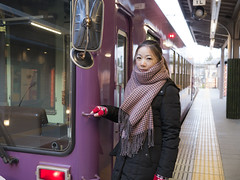she (Mickey Huang) Tags: travel portrait lumix kyoto panasonic arashiyama journey    randen  gx7 20mmf17