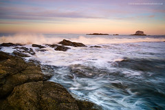 Up Close (Damon Finlay) Tags: sunset seascape water rock landscape coast scotland movement rocks fuji bass north east forth horseshoe northberwick berwick fujinon lothian firth firthofforth bassrock eastlothian xe1 watermovement f284 fujixe1 xf1855mm xf1855mmf284