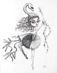 The Swan (Enchanted Fields) Tags: swan ballerina princess surrealism dancer swanlake graceful graphite enchanted pencildrawing inkart swanqueen