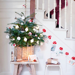 Mini Christmas Tree in Basket (Heath & the B.L.T. boys) Tags: christmas tree mushroom stairs basket garland foyer