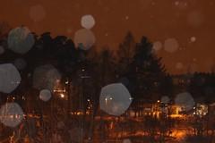 Lots of white floaters around... (jtunkelo) Tags: winter white snow dark fun dusk lumi talvi vuosaari 2016