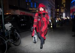 Seeing Red  NYFW 2-2016 (The Urban Vogue) Tags: street nyc red urban newyork hat fashion veil manhattan candid flash streetphotography style midtown trends vogue blade chic 33rd plaid fashionweek streetfashion streetstyle branstrom theurbanvogue bladefoto bladebranstrom