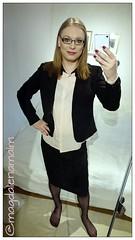 sunday outfit (magdalena_m) Tags: stockings glasses makeup skirt swedish pearls blouse transgender nails jacket tranny blonde transvestite trans mtf maletofemale transgirl