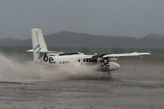 Wet take off! (ChristopherNul) Tags: ocean uk autumn sea 6 canada storm fall beach water weather plane airplane scotland fly airport aviation twin off atlantic be otter gb take barra takeoff airfield dhc aerodrome loganair flybe hebredies hebridene