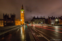 Big Ben & Westminster Bridge at Night (Splendid What) Tags: london wet westminster rain pavement housesofparliament bigben lighttrails riverthames westminsterbridge eizabethtower