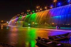 Artificial Rainbow Waterfall ! (sona.eskandarnezhad) Tags: longexposure bridge river lights boat nightshot iran ahvaz karunriver 7thbridge