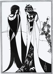 """John and Salome"" by Aubrey Beardsley from ""Salome"" by Oscar Wilde. NY: Three Sirens Press, (c. 1930). (lhboudreau) Tags: art illustration book artwork play drawing oscarwilde wilde illustrations drawings books story artnouveau tragedy salome grotesque penandink bookart blackink beardsley nineteenthcentury hardcover aubreybeardsley stageplay hardcovers britishartist englishartist englishillustrator threesirenspress johnandsalome"