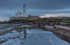 Lighthouse Reflection (Steven Peachey) Tags: morning winter sky lighthouse seascape clouds sunrise canon photography coast rocks ngc northumberland whitleybay northeastcoast stmaryslighthouse ef1740mmf4l lee09gnd leefilters canon6d lee06gnd lightroom5 hawkdog stevenpeachey