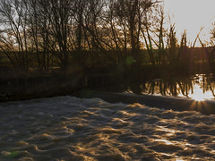 Shadows and Light (Ian M Bentley) Tags: uk winter england sunlight water river outside bedford waves shadows outdoor bedfordshire olympus rapids sunburst rays february oakley omd rivergreatouse m43 1250mm em5 microfourthirds oakleyweir