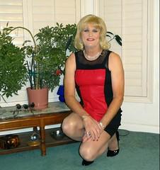 Red n Black Dress (bobbievnc) Tags: hair pumps highheels dress longhair tgirl short blonde heels blondehair pantyhose crossdresser sittingpretty tightdress shortdress tanpantyhose pantyhoselegs