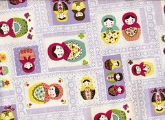 Kawaii Matryoshka Dolls with Lace Print in Purple - Japanese Cotton - EK-QS33607B (ikoplus) Tags: japan print japanese doll dolls with purple lace sewing made fabric cotton kawaii patchwork handbag babushka matryoshka zakka kokka ikoplusfabric ekqs33607b