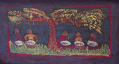 1st Grade Impressions: Math: Tonya Times placed 3 pieces of cake on each of her 5 friends' plates, and they celebrated under the monkeypod tree. (ArneKaiser) Tags: 1stgrade 1stgrade201516 boarddrawings edited hws haleakalāwaldorfschool mrkaisersclass tonyatimes waldorf chalk chalkart chalkboard chalkdrawings math multiplication