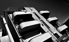 Art Deco Apartments (phunnyfotos) Tags: shadow summer bw building architecture mono nikon apartments shadows angle balcony australia monotone victoria flats domestic d750 balconies housing vic artdeco flagpole deco residential ballarat letterboxes earlymorninglight phunnyfotos nikond750