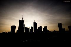 Frankfurt Skyline Silhouette (Steffen Dufner Photography) Tags: sunset urban skyline architecture contrast canon frankfurt wideangle mainhatten 60d