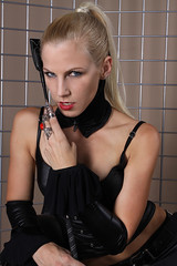 Sandy 30 (The Booted Cat) Tags: woman sexy girl leather high model highheels pants crop blonde whip heels mistress corsage leggins thigt