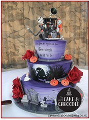 jenni and jake (The Whole Cake and Caboodle ( lisa )) Tags: wedding red roses cakes rose cake jack jenni jackskellington weddings nightmarebeforechristmas caboodle thewholecakeandcaboodle weddingcakeswhangarei