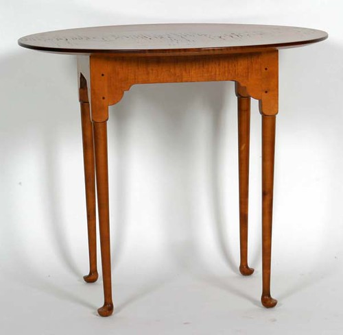Marshall James Tiger Maple Queen Anne Tea Table - $198.00
