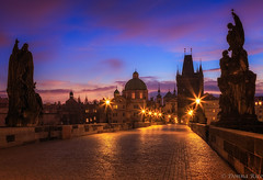 December Sunrise Over Prague (co photo gal) Tags: old bridge blue winter tower architecture clouds sunrise lights solitude december republic czech prague statues peaceful charles praha most steeples karlv 2015