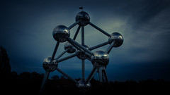Darkness Over Brussels... (Gilderic Photography) Tags: city blue brussels sky architecture canon dark sadness darkness belgium belgique belgie bruxelles ciel brussel atomium ville 500d gilderic