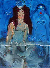 LA FILLE QUI SE MOUILLE (Claude Bolduc) Tags: outsiderart surrealism artbrut lowbrow visionaryart lowbrowart psyart