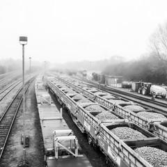 Hinksey railway sidings #2 (ExpectGrain) Tags: 6x6 film misty analog rolleiflex mediumformat railway oxford oxfordshire gravel automat ilfordfp4 railwaysidings hinskey