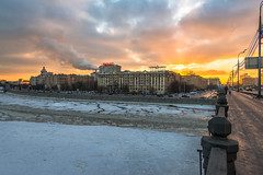 DEP_4587 (Dmitriy An) Tags: city bridge houses sunset sky people sun ice clouds buildings evening russia walk moscow smoke omega avenue         moscowriver          prology obuhov