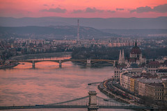 Sunset view (Vagelis Pikoulas) Tags: travel winter sunset sun canon europe hungary view budapest january tamron vc 6d 70200mm 2016