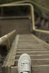 Precarious Steps (ehad.jpg) Tags: life new wood christchurch cliff feet lines yellow stairs canon walking de photography eos 50mm shoes exposure dof bokeh hiking path f14 steps perspective philosophy creme eugene zealand gradient rails paths ladder adidas nizza brouwer
