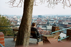 The wanderer above Graz (Kathleen Vtr) Tags: city travel light portrait people panorama sun man tree beautiful sunshine analog landscape person austria back cityscape view panoramic explore canonae1 graz wanderer discover filmphotography fernweh