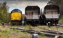 Colas Railfreight Class 37/0 no 37175 at the front of a Network Rail Test Train at Thoresby Colliery Sidings on 25-04-2016 (kevaruka) Tags: greatbritain england orange color colour colors yellow train canon spring mine flickr track colours unitedkingdom transport railway trains pit mining april 5d frontpage dull nottinghamshire 1635 thoresby edwinstowe clipstone 2016 colas cpal testtrain canon5dmk3 5dmk3 canonef100400f4556l 5d3 thoresbycolliery 5diii colasrailfreight canoneos5dmk3 ilobsterit highmarnhamtesttrack