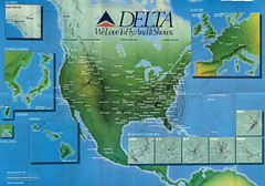Delta system route map, fall 1989 (airbus777) Tags: diagram bex network 1989 asa tbt deltaairlines comair routemap atlanticsoutheastairlines skywestairlines businessexpress