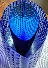 Ingrid Glas - Handblown Signed Heavy Glass Vase (IG 3079 or 3075) Top Angle View (Ahornblatt2012) Tags: blue ingrid glass vintage germany design kurt retro vase glassworks glas signed ig midcentury handblown spaceage mcm euskirchen westgerman 3075 wokan ingridhtte blockvase