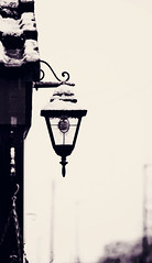 Lamp light (Laineyb93) Tags: blackandwhite white snow black lamp photoshop outdoors mono nikon elements lantern silohette porchlight