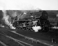 BR Standard class 9F 2-10-0 with Crosti boiler at Bristol Barrow Road shed (82E) (rac819) Tags: steam railways britishrailways steamlocomotives uksteam brsteam