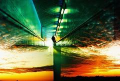Lomo  when two films collide (lomomowlem) Tags: sunset sky colour film clouds dark underground lomo lca xpro lomography xprocess doubleexposure crossprocess lofi vivid multipleexposure analogue pedestriantunnel kodakelitechrome misaligned colourstreambrighton
