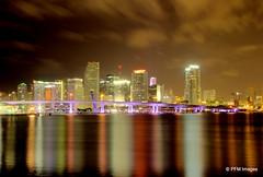 Miami Nights (pandt) Tags: city bridge sky water skyline architecture night clouds port buildings island lights bay flickr bright florida miami outdoor smooth watson causeway macarthur biscayne portofmiami