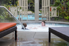Swimming in the Rain (aaronrhawkins) Tags: boy wet pool girl rain weather kids marina swimming children sandiego jessica joshua hottub raindrops southerncalifornia damp elnino marriotmarquis aaronhawkins