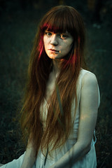 (baneoff) Tags: red summer portrait sun girl forest violin        muzykantka