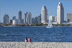 The view from Coronado across to San Diego downtown (YuccaYellow) Tags: blue white beach sailboat island sand san couple downtown view diego coronado