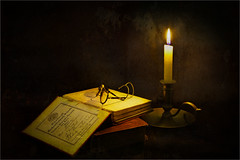 The Prize (mtwhitelock) Tags: stilllife candle books spectacles theprize