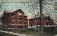 Grammar and High School, Kalamazoo, Michigan, Front (kplcommons) Tags: school red building brick public architecture michigan library postcard highschool kalamazoo grammar kalamazoopubliclibrary kalamazoopublicschools grammarandhighschool