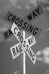 Kris Kross (4oClock) Tags: trip railroad travel newzealand summer blackandwhite bw sun monochrome sunshine sign train mono nikon crossing cross unique exploring roundabout railway tourist junction adventure journey experience northisland onceinalifetime nikkor dslr visiting napier hawkesbay levelcrossing 18105 2015 d90 ahuriri nz15