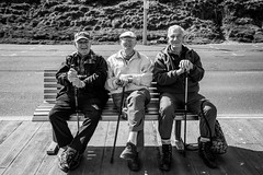 DSC_0216 (jameshowardphotography) Tags: old men monochrome hat bench mono boots yorkshire caps stick scarborough ord walkers