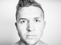 Me (Kyler Barrett) Tags: portrait blackandwhite male guy model flash profile selfie