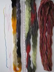 (vashtirama) Tags: crochet variegated filet multicolor freeform handdyedyarn selfstriping handpaintyarn crochetclass shortstriping barebonesscarf stitchgames