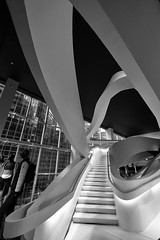 Staircase in Giorgio Armani Store on 5th Avenue, NYC (nianci pan) Tags: nyc urban bw abstract geometric fashion shop architecture pattern geometry manhattan sony line staircase pan curve  giorgio armani   sonyalphadslr nianci sonyphotographing